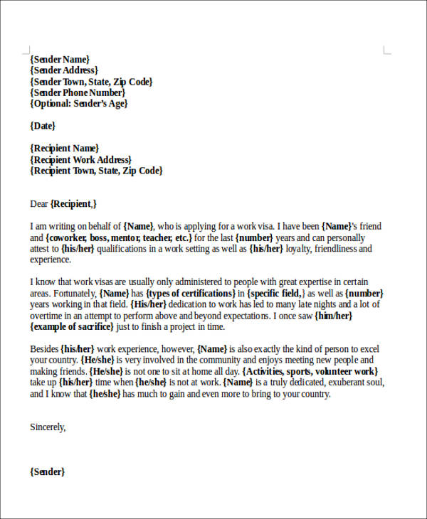 character recommendation sample letter