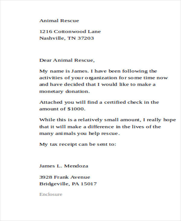 Charitable Template Letter Contribution