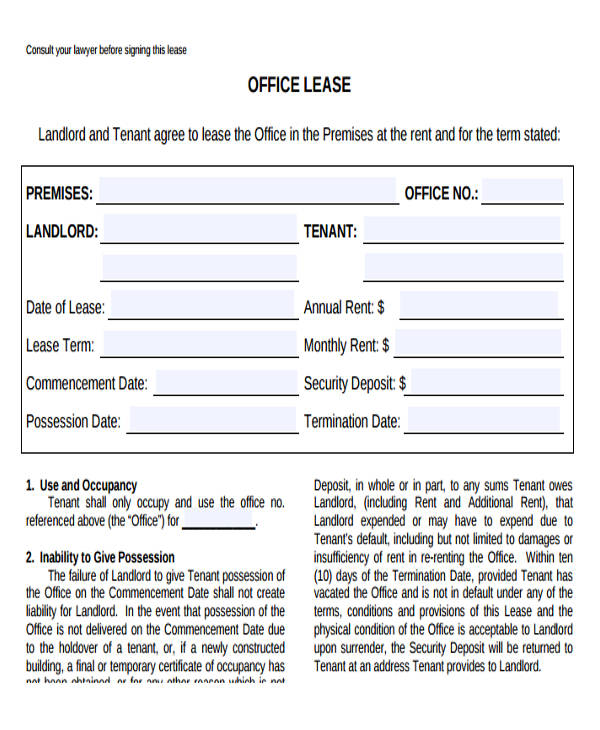 A commercial office space lease agreement is a legal document that is drafted by a landlord and issued out to a tenant. Free 35 Commercial Lease Agreement Samples In Pdf Ms Word Google Docs Pages