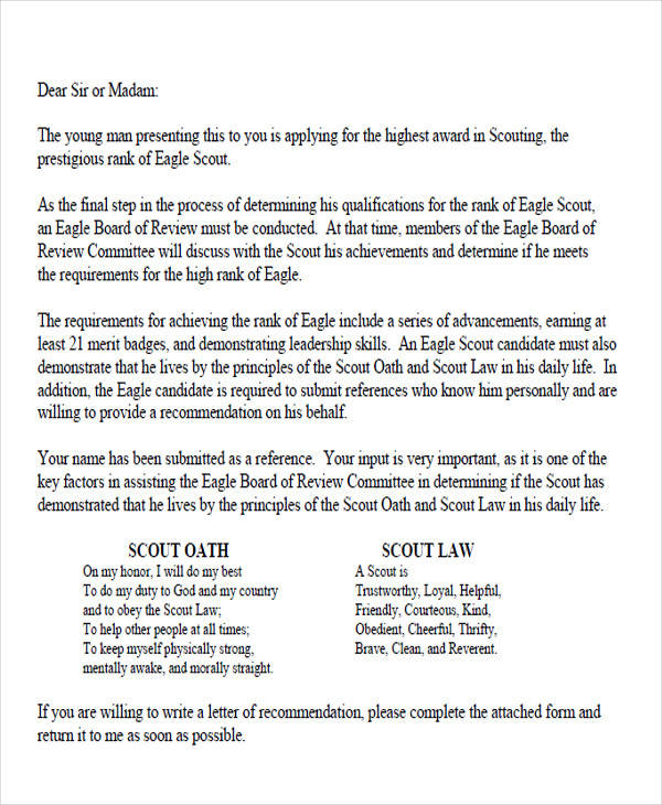 How to write a letter of recommendation for an eagle scout candidate 10 sample eagle scout recommendation letter free spiritdancerdesigns Image collections