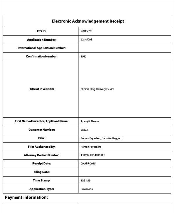 Electronic Receipt Forms