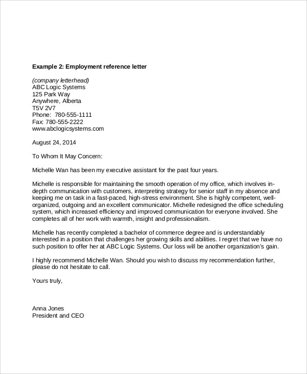 sample reference letters for employment