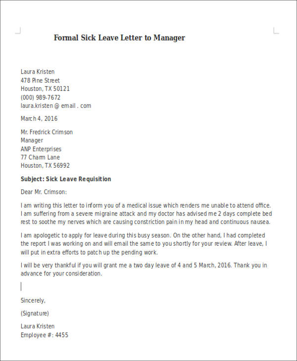 Medical Leave Letter To Employer | Mytemplate.Co
