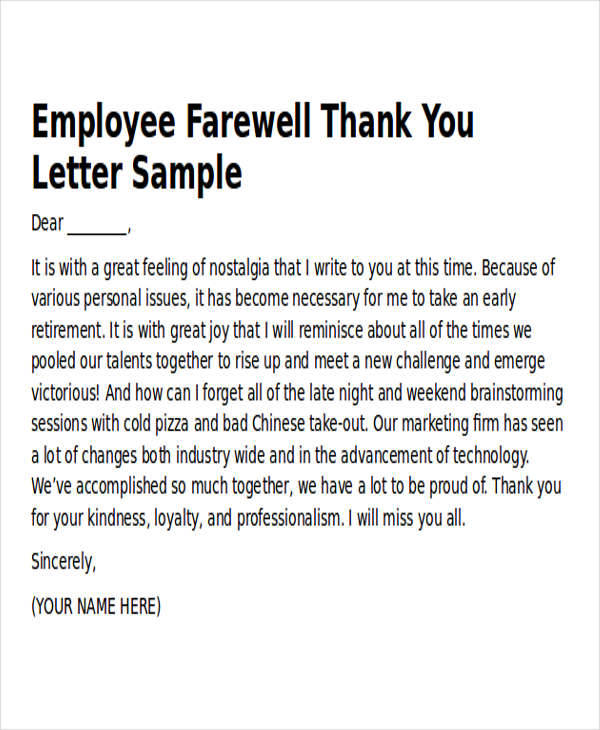 Thank You Letter To Colleagues When Leaving Company : thank, letter, colleagues, leaving, company, Sample, Thank-You, Templates