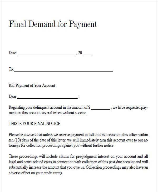 Final Demand Payment