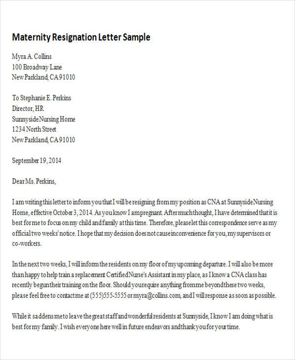 5+ Sample Maternity Resignation Letters  Pdf, Word