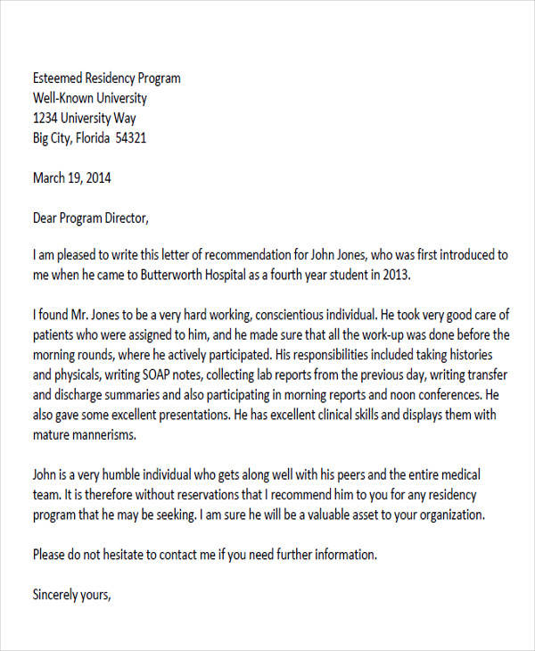 6+ Sample Physician Recommendation Letters | Sample Templates