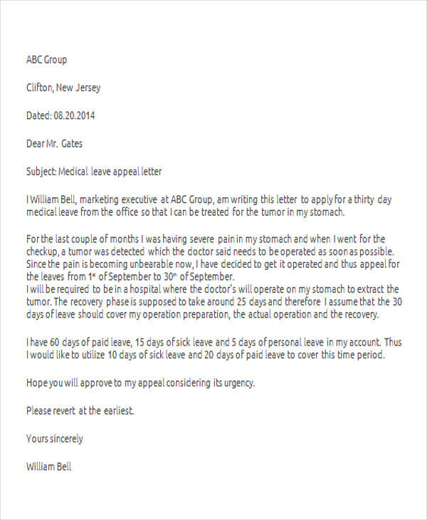 Sample medical leave letter to boss inviview 42 leave letter samples pdf word apple pages sample templates altavistaventures Images