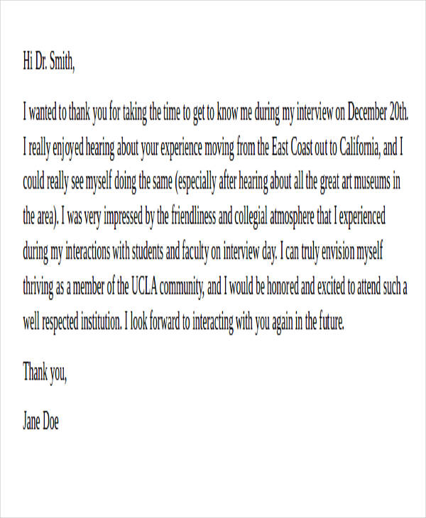 interview thank you letter email