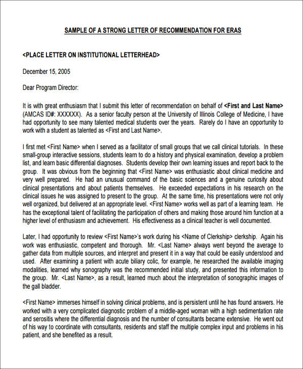Recommendation Letter For Medical School Sample  Life