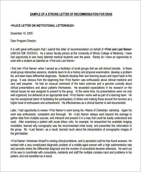 Letter Recommendation Medical School Sample Ecza Solinf Co. Physician  Recommendation Letter Sample