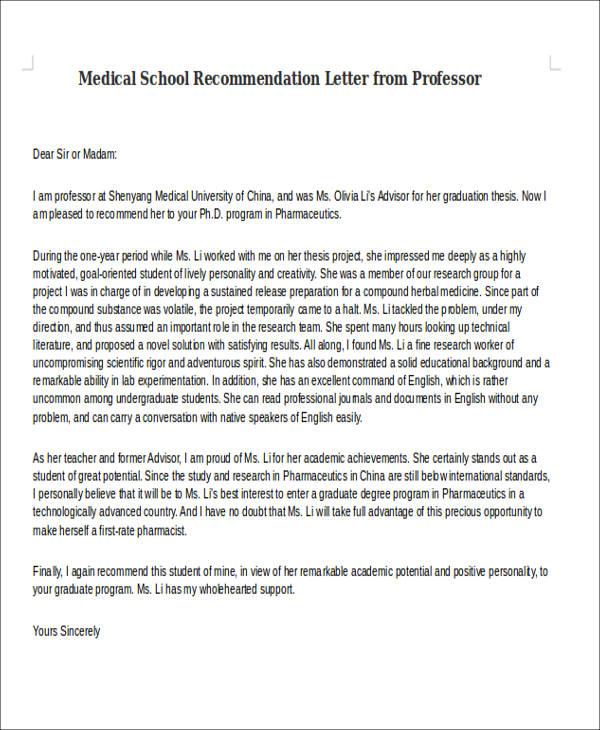 sample letter of recommendation for medical student