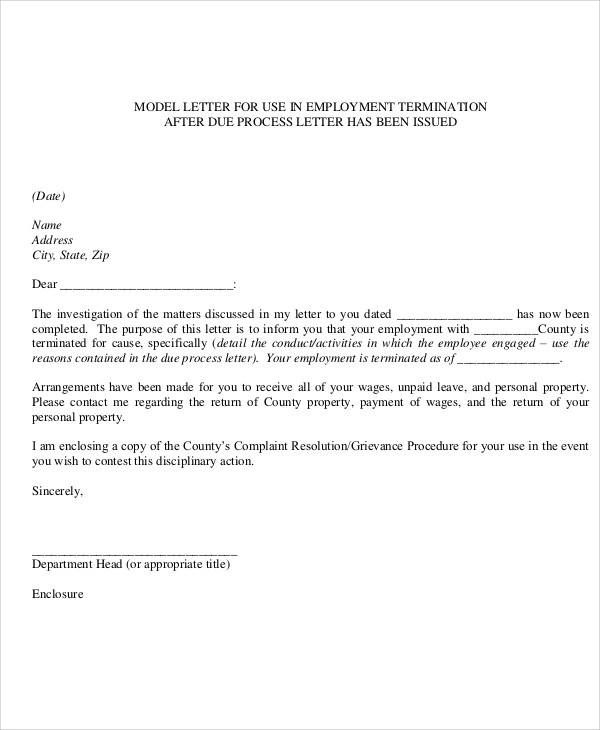 sample termination letters to employees
