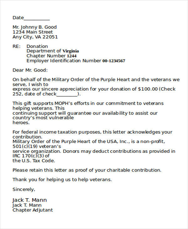 sample of a donation letter for a non profit organization