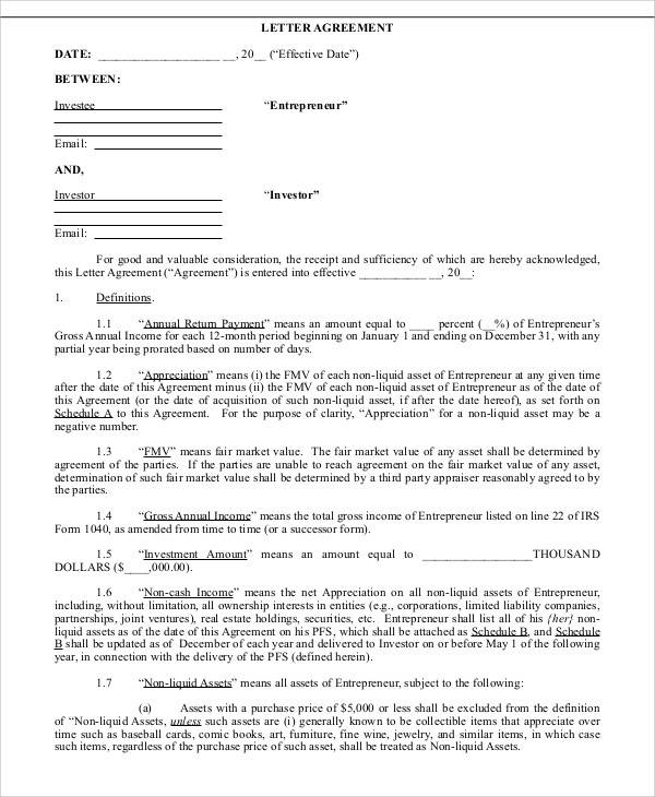 38 Agreement Letter Examples  Word PDF