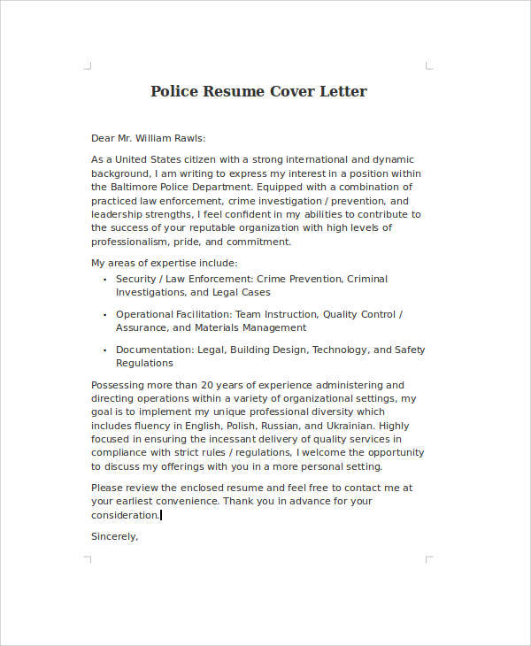 police officer resume cover letter examples