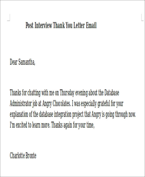 post interview thank you letter email