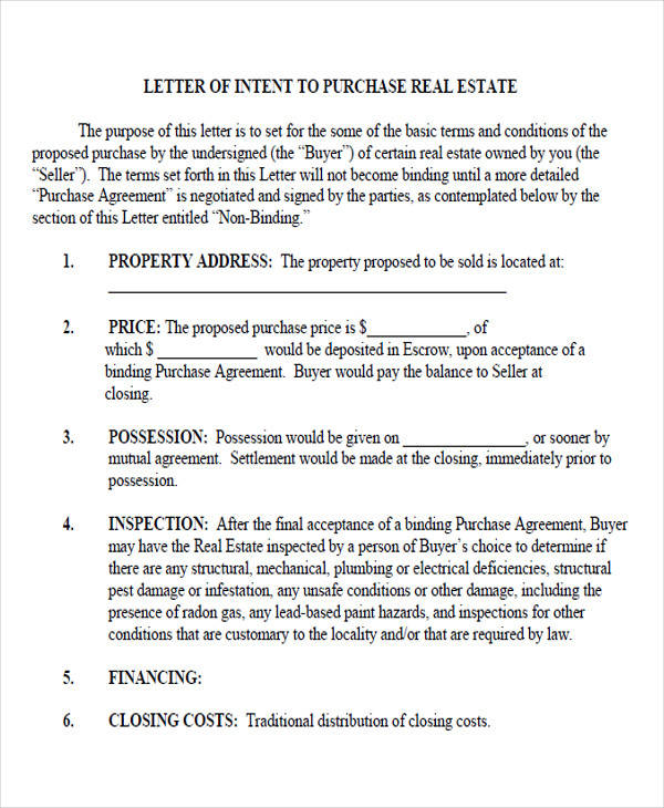 53 Letter Of Intent Formats Sample Templates