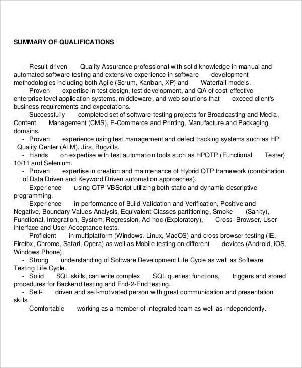 software quality assurance resume pdf