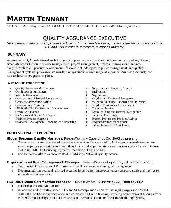 quality assurance manager resume example