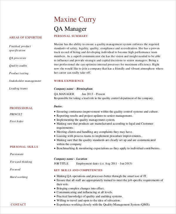 quality assurance resume examples free