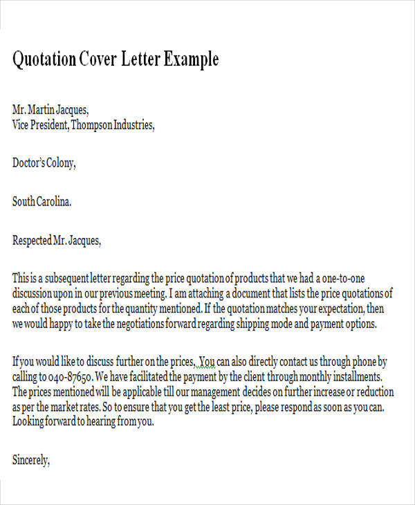 11 Sample Quotation Letters In Doc