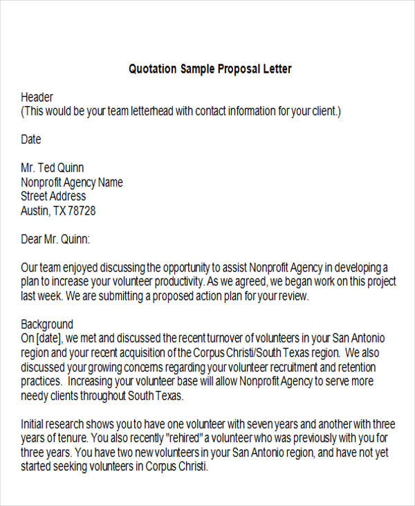 9 Sample Quotation Letters in Doc Sample Templates