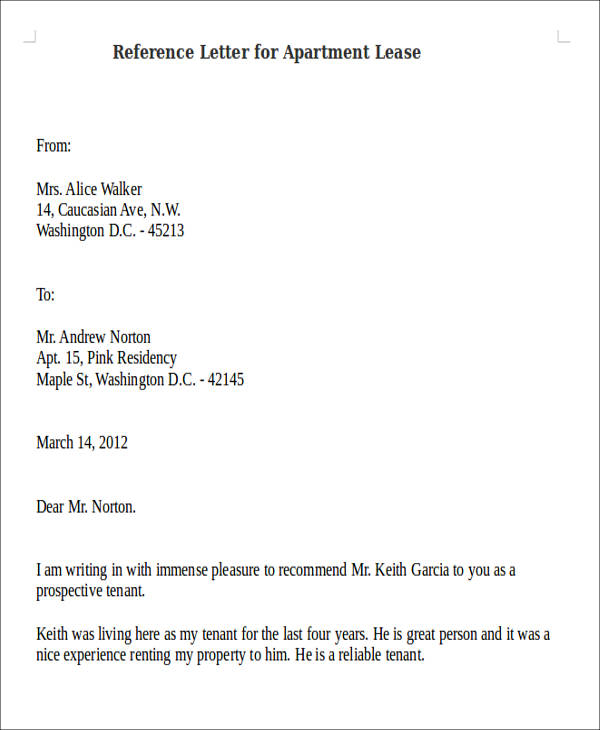Reference Letter For Apartment Tenant Re mendation Letter