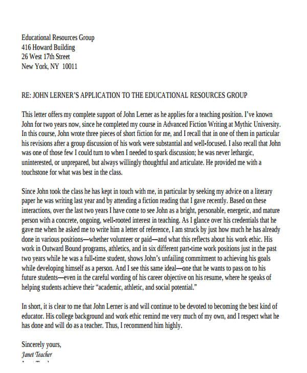 letter of recommendation for teaching job