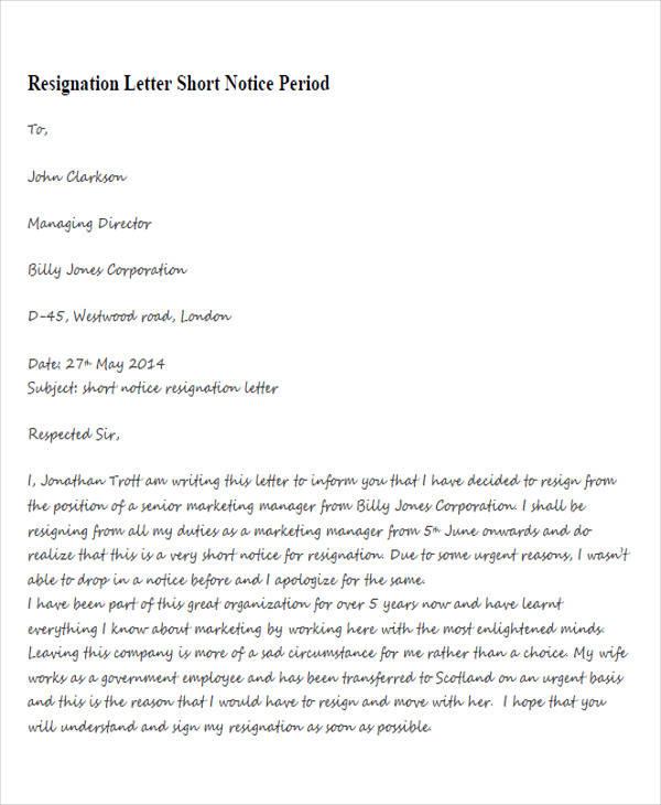 letter of resignation for teacher