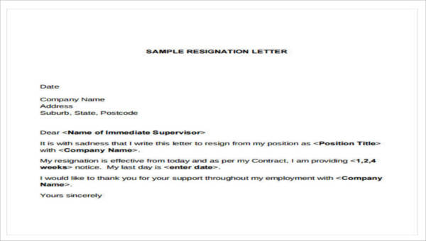 7 Company Resignation Letters Samples Examples