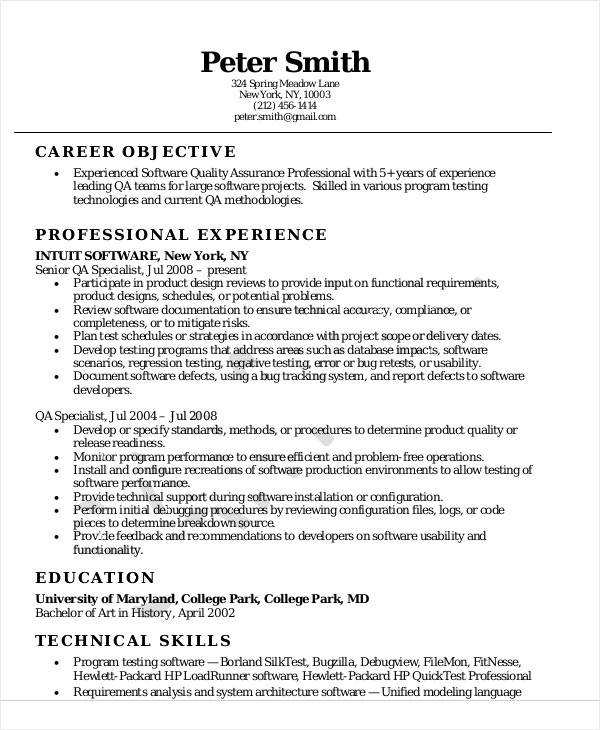 sample resume for quality assurance executive