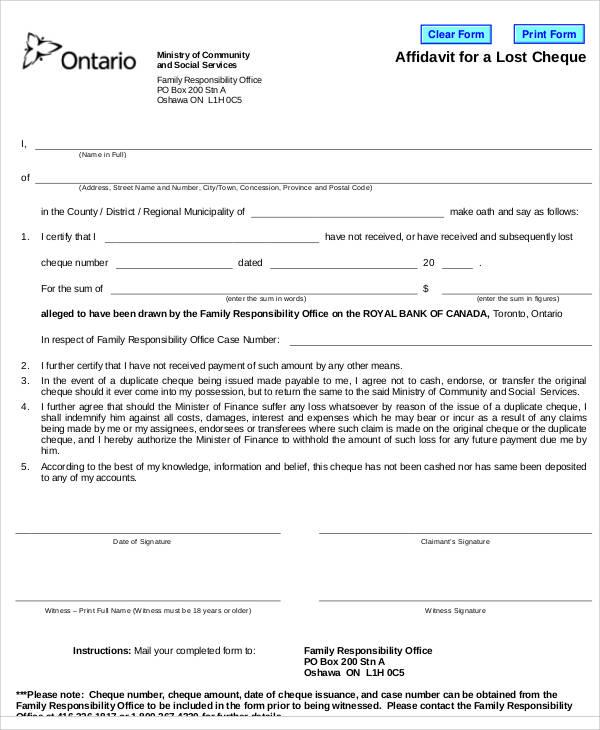 Affidavit Of Loss Template | brandforesight co