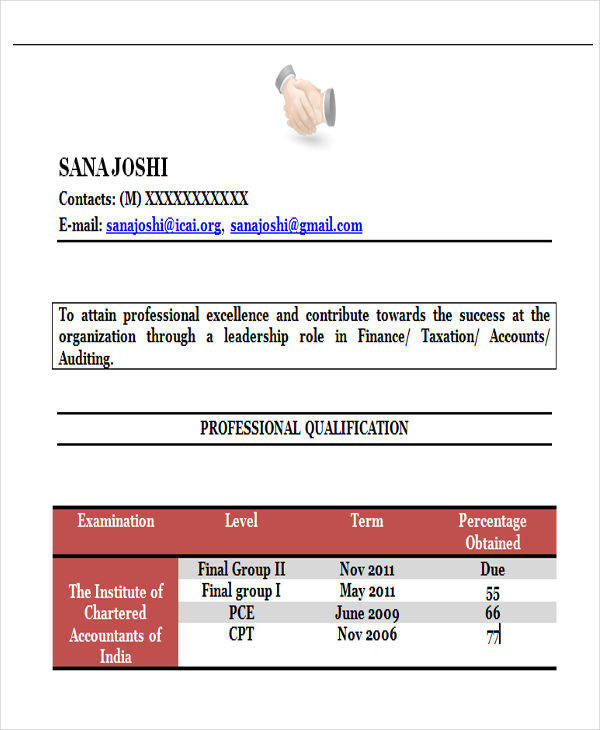 chartered accountant resume sample best sample resumes