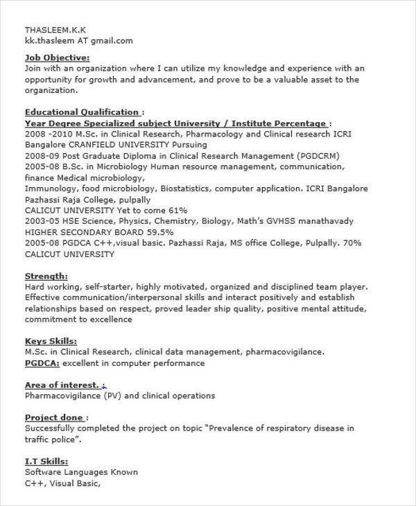 sample resume for research analyst fresher