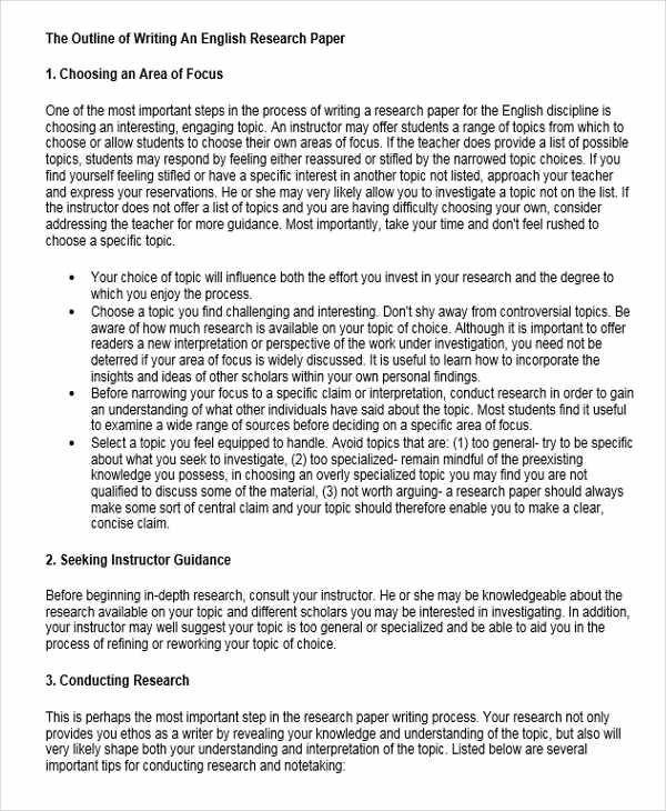 21 Research Paper Outlines Sample Templates