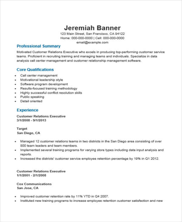 34 Free Executive Resumes  Sample Templates