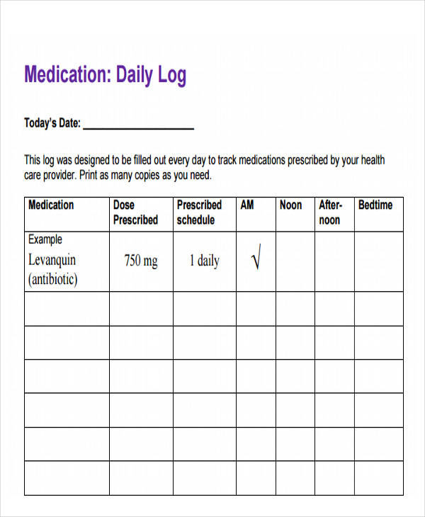 daily medication log printable