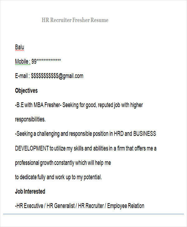 fresher resume format download