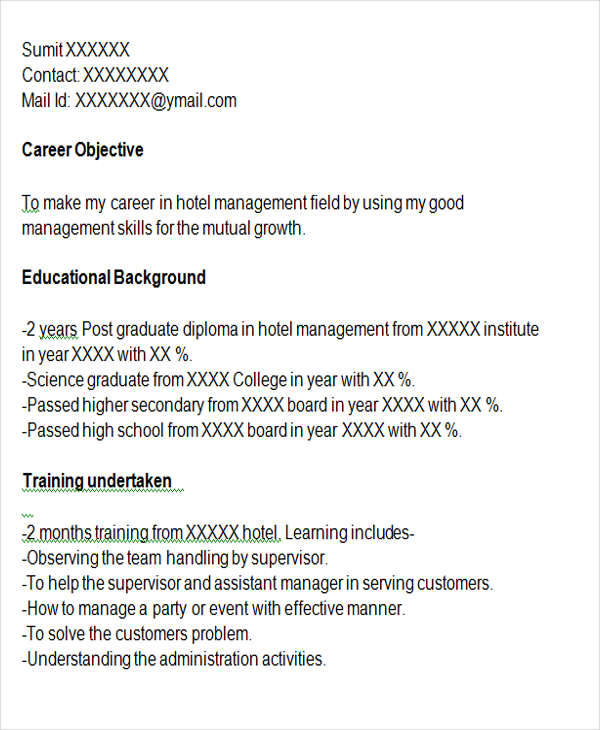 professional management resume examples