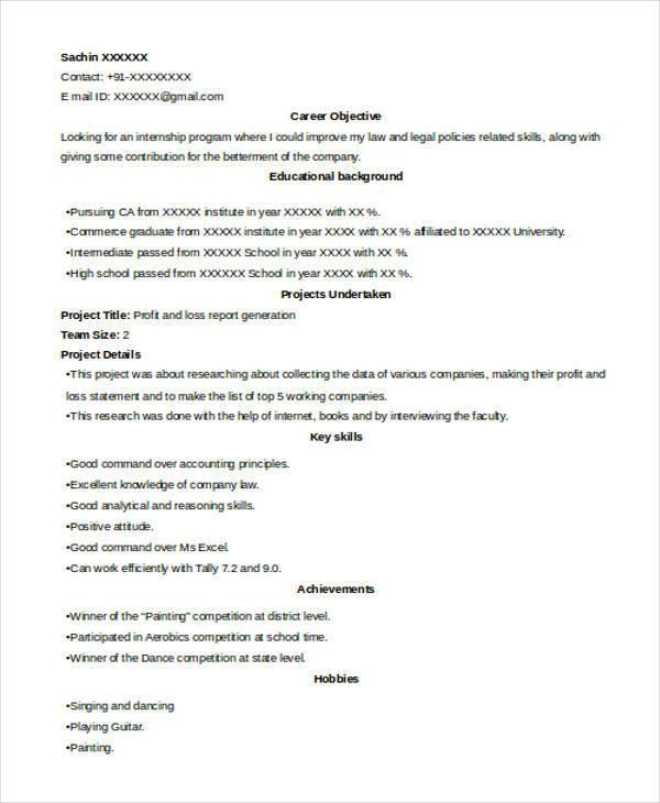 resume samples internship