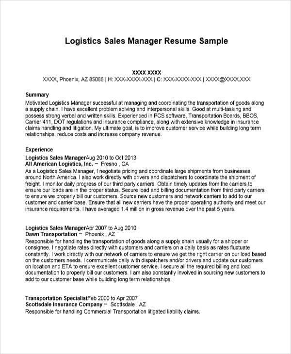 logistics sales resume samples