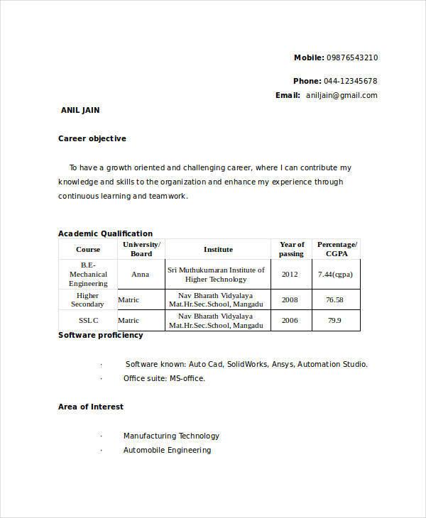 resume format for mechanical engineer freshers