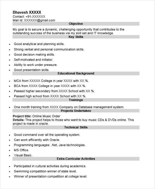 oracle dba fresher sample resume free download