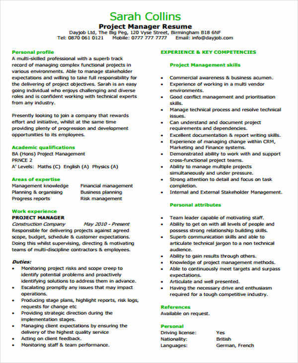 resume templates for business development manager