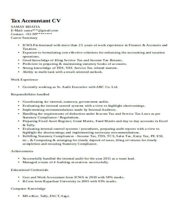 32 Accountant Resume Samples Sample Templates