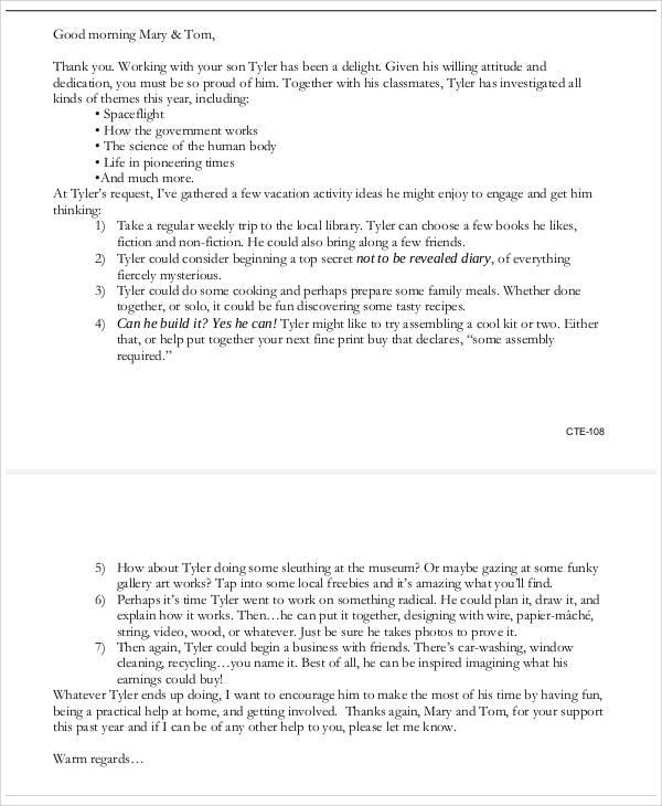 Sample Parent Letter From Teacher | brandforesight co