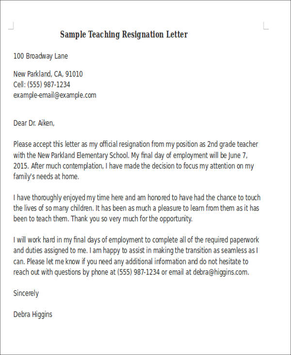 7 Sample Teaching Resignation Letters  Free Sample Example Format Download