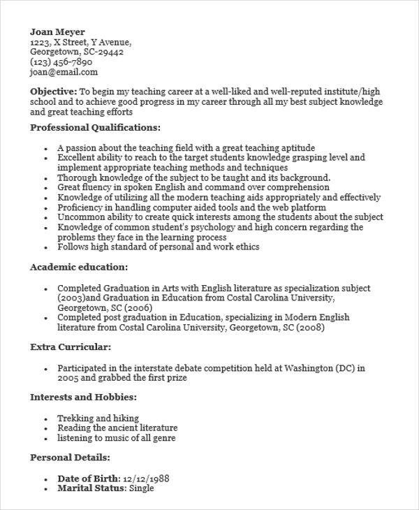 40Fresher Resume Examples