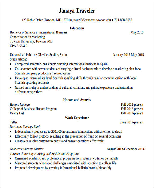 example study abroad resume